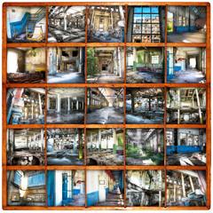 fabbriche in rovina bacheca collage