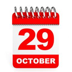 Calendar on white background. 29 October.
