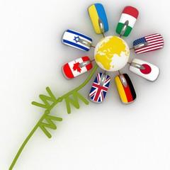 Unusual flower for the Internet.  3d render illustration