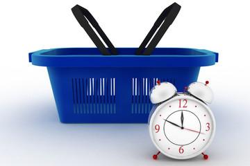 Shopping basket with a Alarm clock. 3d render illustration