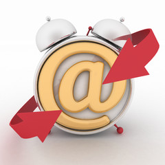 Alarm clock and symbol of e-mail.  Concept online support