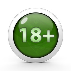 18+ circular icon on white background