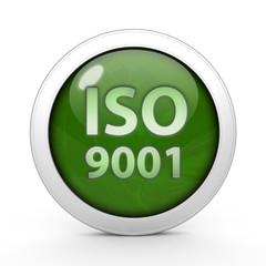 Iso 9001 circular icon on white background