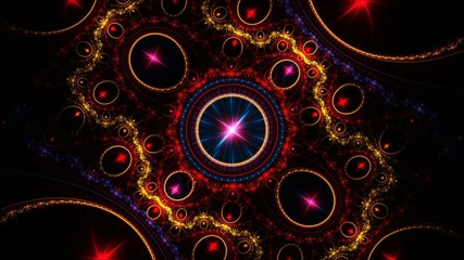 colorful swirling wheels in fractal space