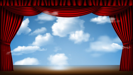 stage with cloudscape