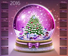 Calendar with christmas snow glass crystal ball on 2016 vector