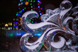 Flower Ice sculpture close up at night - 74853408