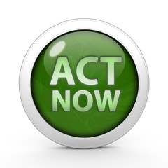 Act now circular icon on white background