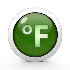 fahrenheit circular icon on white background