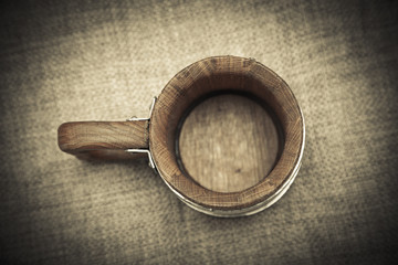 old wooden mug. top view.  retro style