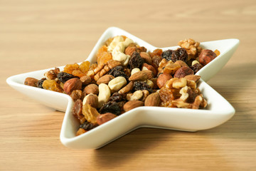 Dish filled with nuts and dried food