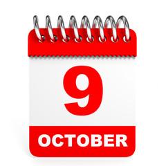Calendar on white background. 9 October.
