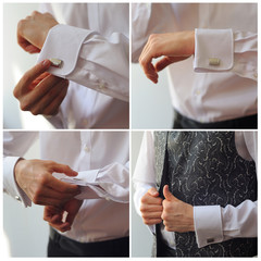 men wear cufflinks on a shirt sleeve collage