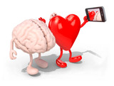 Fototapety brain and heart take a self portrait with her smart phone