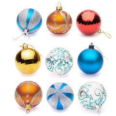 orange, blue, blue-silver, red, yellow, white christmas balls on