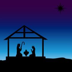 Baby Jesus in the Manger at Dusk