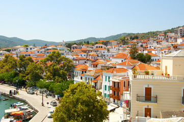 View at the city of Skopelos