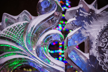 White Ice sculpture at night