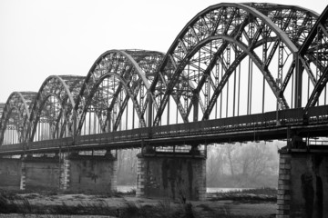 Gerola Bridge on the Po river, wintertime. BW image