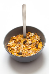 Muesli bowl. White background.