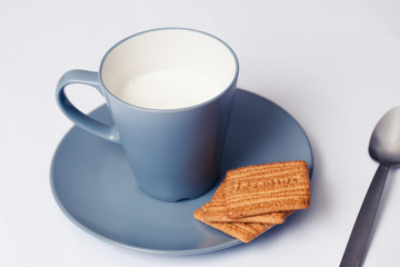 Milk and biscuits. Perfect breakfast.