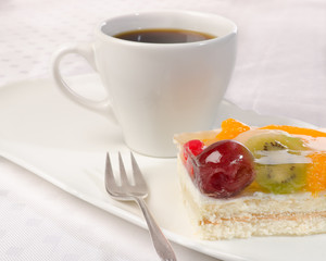 fruit cake with coffee