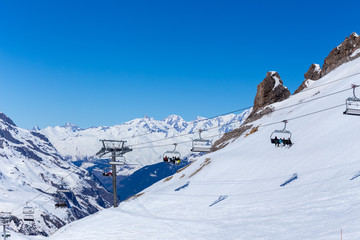 Chairlift on a ski resort. Tignes, France