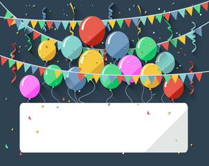 Birthday background with blank sign/flat design style