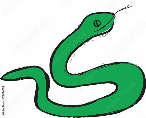 cartoon green snake - 74856034