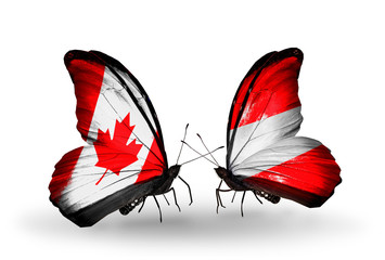Two butterflies with flags Canada and Austria