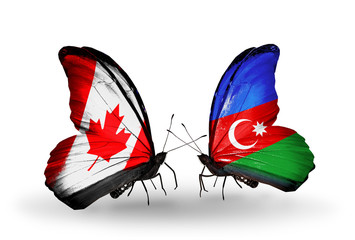 Two butterflies with flags Canada and Azerbaijan