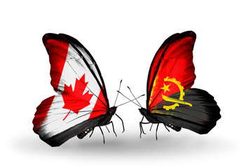 Two butterflies with flags Canada and Angola