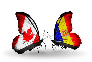 Two butterflies with flags Canada and Andorra