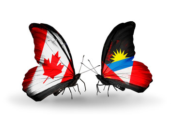 Two butterflies with flags Canada and Antigua and Barbuda