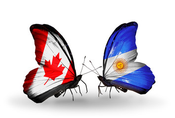 Two butterflies with flags Canada and Argentina