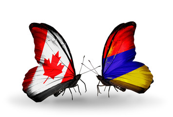 Two butterflies with flags Canada and Armenia
