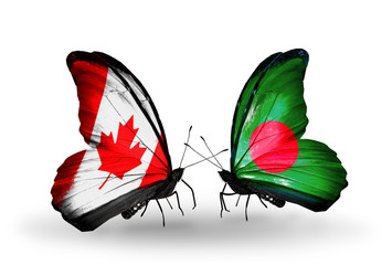 Two butterflies with flags Canada and Bangladesh