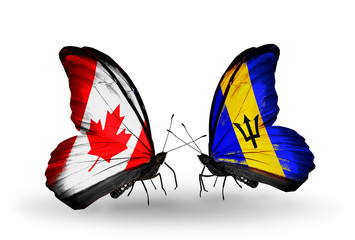 Two butterflies with flags Canada and Barbados