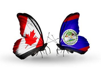 Two butterflies with flags Canada and Belize