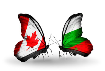 Two butterflies with flags Canada and Bulgaria