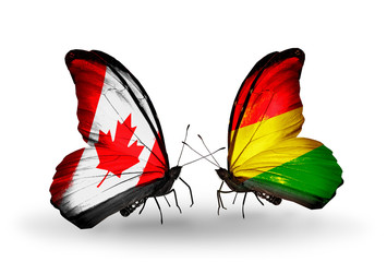 Two butterflies with flags Canada and Bolivia