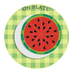 Half of watermelon on plate. Vector illustration