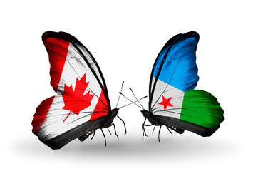 Two butterflies with flags Canada and Djibouti