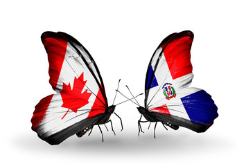 Two butterflies with flags Canada and Dominicana