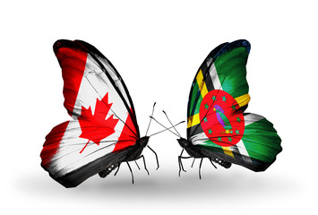 Two butterflies with flags Canada and Dominica