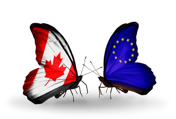 Two butterflies with flags Canada and EU