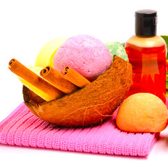 Soap, bath bombs, gel, cinnamon sticks in the coconut shell and