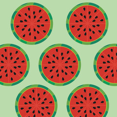 Half of watermelons on green background. Vector illustration