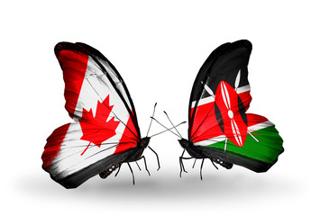 Two butterflies with flags  Canada and Kenya