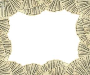 Dollars banknotes frame. money background